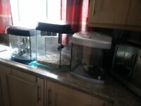 3 small aquariums with filters