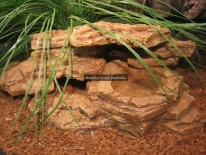 FFF-211 Hide Rock Bowl 39cm Resin Water Feed Reptile Lizard Snake Frog Fish Rock
