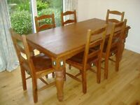 Pine & Teak Dining Table with 6 Chairs