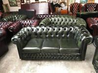 Stunning green leather chesterfield 3 seater sofa UK delivery