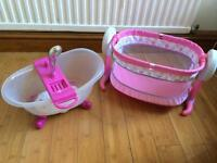 Baby Born musical bath and shower with Fisher Price rocking cot