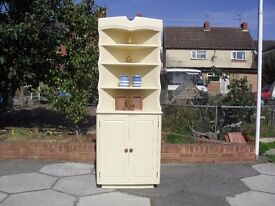 Shabby Chic Solid Pine Farmhouse Country Corner Display unit In Farrow & Ball Cream No 67