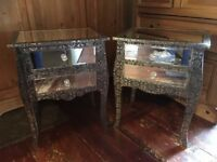 Chaandhi Silver Black Embossed Bedside Tables - Mirrored Bedside Tables - Metal Furniture - Ornate