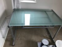 Desk with frosted glass top - quick sale!!
