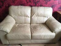 2 two peice sofas cream leather