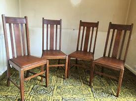 Solid Oak High Back Dining Chairs