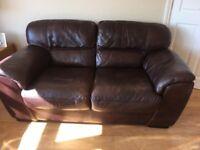 Italian leather Violino sofas 3&2 & 2 footstools