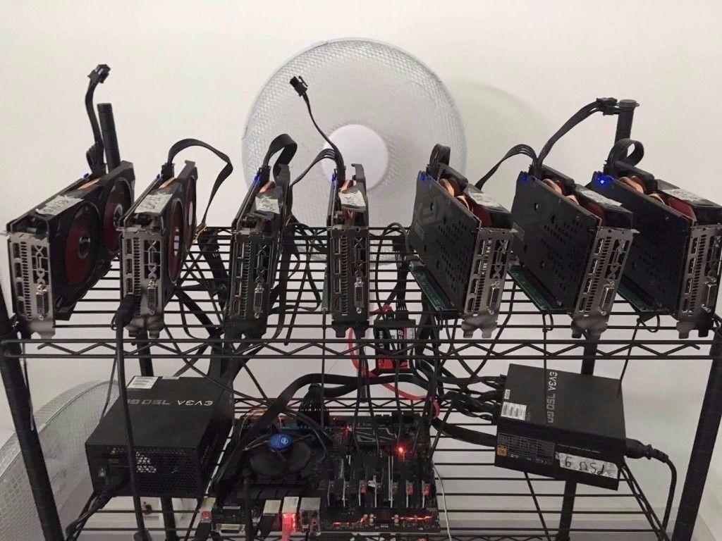 7 GPU 185 MH Mining Rig Miner ( Ethereum Bitcoin Zcash ...