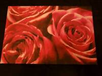Large Red roses canvas picture
