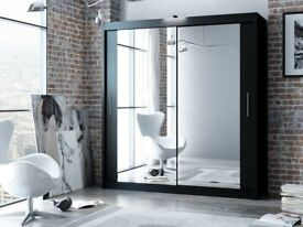 ☀️☀️EXPRESS DELIVERY☀️☀️- BERLIN 2 DOOR SLIDING WARDROBE WITH FULL MIRROR -EXPRESS DELIVERY