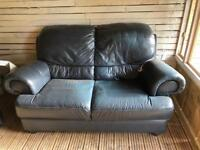 2 seater sofa and Single seater chair Blue Leather