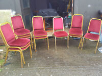 11 Red velvet stackable chairs
