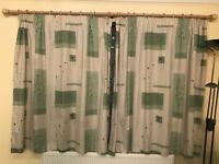 Two Pairs of Ready Made Fully Lined Cotton Curtains. Size: W160cm x L140cm