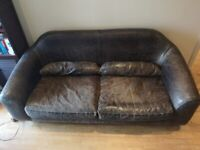 3 Seater Black Leather Sofa for collection