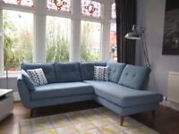 Teal Blue DFS FRENCH CONNECTION Zinc Chaise Corner Sofa