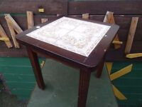 Coffee table small dark wood tiled top good condition £10