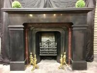Antique Scottish Victorian Marble Fireplace Surround with Cast Iron Insert.