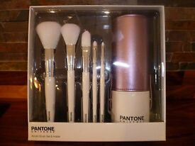 Pantone Acrylic Make Up Brush Set & Holder - Brand New
