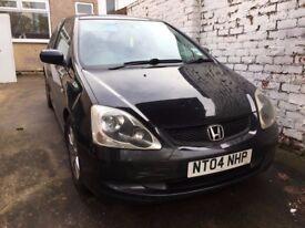 Honda Civic 1.6 black petrol iVTEC 04 plate 143k miles