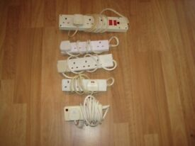 A Selection Of Five Extension Lead Sockets.