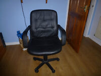 SOLD Black Leather Office Chair