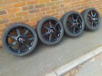 "4x100 17"" Black Alloy wheels MINI Corsa Honda MG RRP £600 DELIVERY AVAILABLE! NOT OZ!"