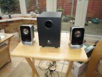 Logitec LS21 computer speakers.