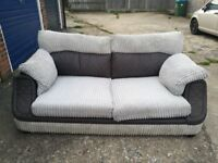 GREY FABRIC SOFA JUMBO CORD IN EXCELLENT USED CONDITION FREE LOCAL DELIVERY AVAILABLE 07486933766
