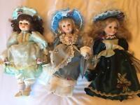 3 porcelain dolls for sale