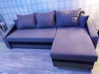 Double sofabed with storage and built in shelves