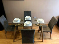 Clear Glass Oak Effect Dining Table 4 Grey Fabric Chairs Modern Living Room Dinning Room Kitchen