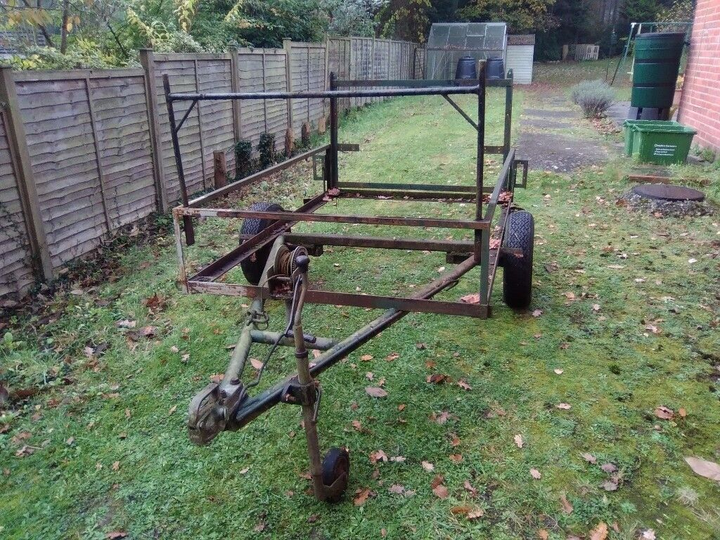 Heavy duty steel trailer with hand winch and tail ramp
