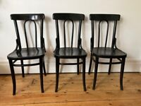 Set of Three Vintage Thonet Tall Back Bentwood Kitchen Dining Bistro Chairs