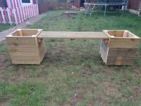 Garden bench 2 seater with planters