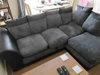 HOME Harley Regular Fabric Right Hand Corner Sofa - Charcoal