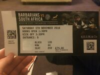 Two seated tickets to BARBARIANS VS SOUTH AFRICA on Saturday 5th November