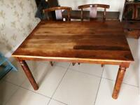 Wooden Dining Table with bench and 2 chairs