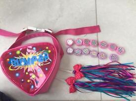 Girls handlebar bike bag, streamers & spoke gems