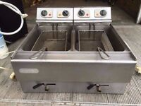 CATERING COMMERCIAL TWIN TANK FRYER CAFE SHOP KEBAB FAST FOOD TAKE AWAY KITCHEN RESTAURANT CUISINE