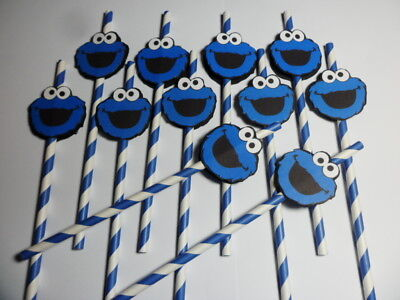 Cookie Monster Party (Cookie Monster Favors, Chevron Straws/ party favors/ drinks  SET OF)