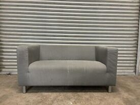 FREE DELIVERY IKEA KLIPPAN GREY FABRIC 2 SEATER SOFA GOOD CONDITION