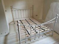Ivory gloss double metal bed