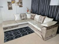 *** EXPRESS DELIVERY *** CRUSH VELVET MAX DIAMOND CORNER SOFA/UNIT ON SPECIAL OFFER