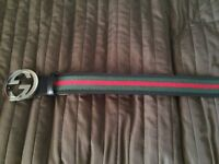 Mens Gucci Belt Black Trim Green and Red Stripe Belt 114984 30-33 INCHES