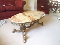 Coffee table, marble top, brass base