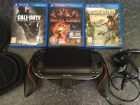 PS Vita Mint Boxed + 3 Games + Case + 8gb&4gb Cards + Controller