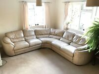 The most comfortable beige leather corner sofa.
