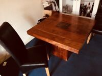 Solid oak dining table & 4 leather chairs