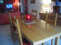 french oak dining room table and chairs