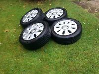 """4 x Audi A3, A4, VW Passat, Golf 16"""" alloy wheels, tyres & hubcaps."""